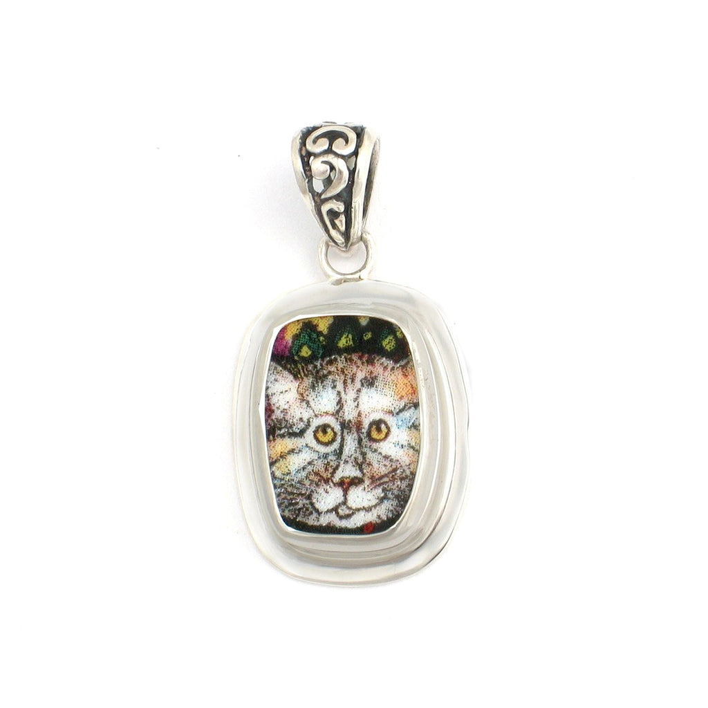 Broken China Jewelry Striped Kitty Cat with Starry Sky Rectangle Pendant