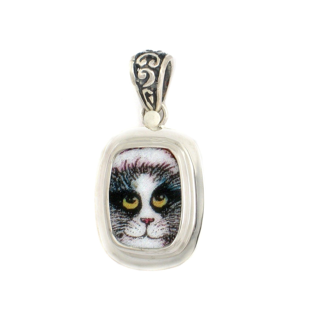 Broken China Jewelry Happy Black and White Kitty Cat with Smile Rectangle Pendant