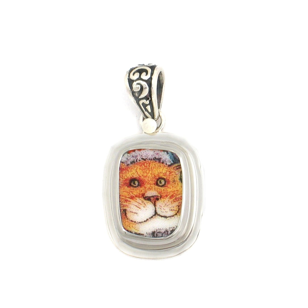 Broken China Jewelry Kitty Cat Smiling Ginger Sterling Rectangle Pendant