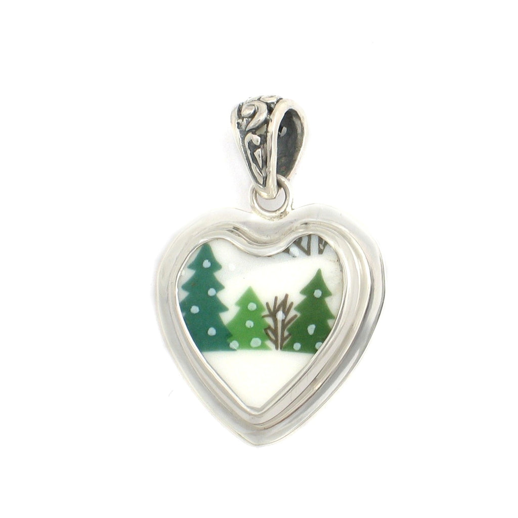 Broken China Jewelry Sleighride Winter Christmas Trees Sterling Heart Pendant