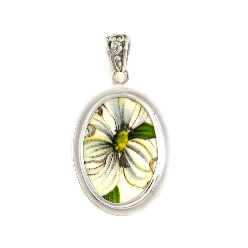 Broken China Jewelry Dogwood Flower Blossom Sterling Oval Pendant