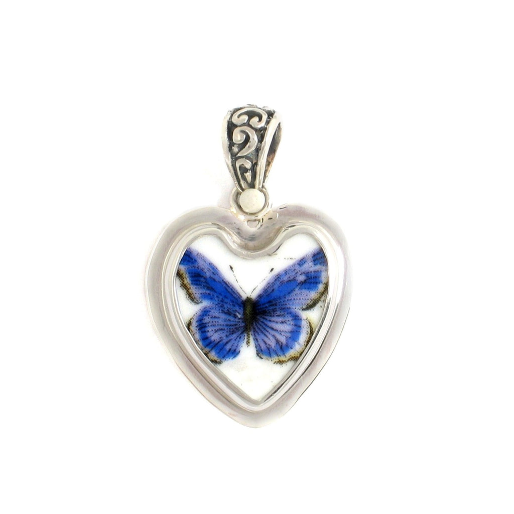 Broken China Jewelry Cobalt Blue Butterfly Sterling Silver Heart Pendant