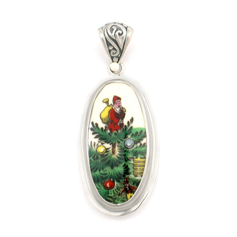 Broken China Jewelry Spode Christmas Tree Santa Sterling Tall Oval Pendant