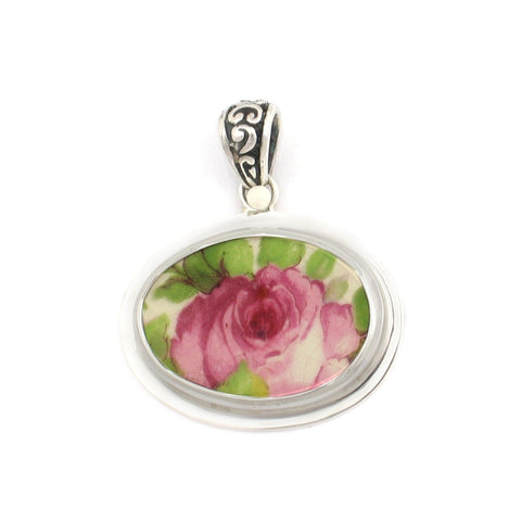 Broken China Grimwades Summertime Chintz Pink Rose Sterling Horizontal Oval Pendant