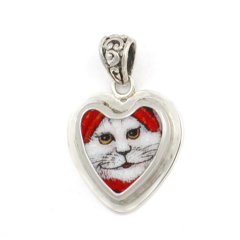 Broken China Jewelry White Cat with Red Hat Cat M Sterling Heart Pendant