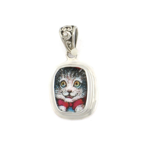 Broken China Jewelry Tabby Kitty Cat Grey and White Sterling Rectangle Pendant