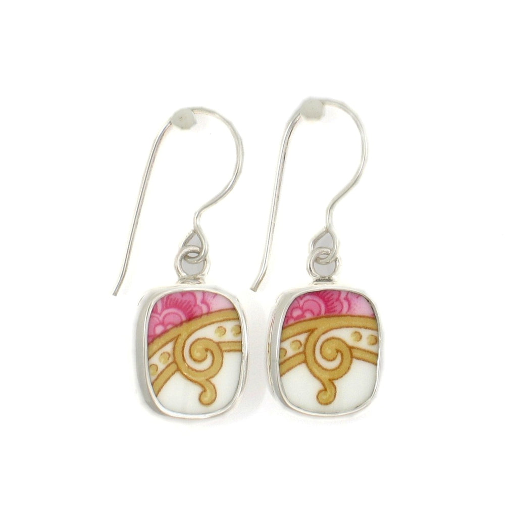 Broken China Jewelry Lady Carlyle Pink Yellow White Scroll Sterling Earrings