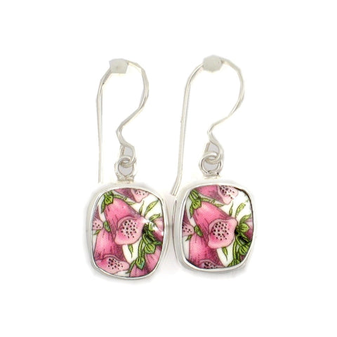 Broken China Jewelry Portmeirion Botanic Garden Pink Foxglove Sterling Silver Earrings