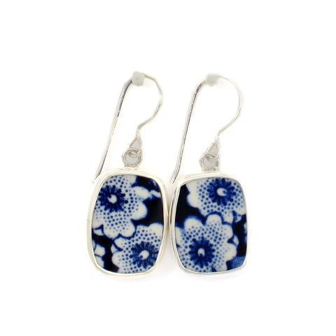 Broken China Jewelry Burleigh Blue Calico Double Flower Sterling Earrings