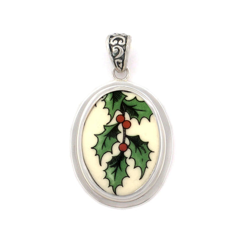 Broken China Jewelry Spode Christmas Holly Sterling Medium Oval Pendant