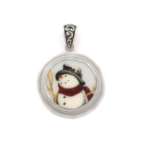 Broken China Jewelry Winter Christmas Snowman Snow Man Close Up Sterling Circle Pendant