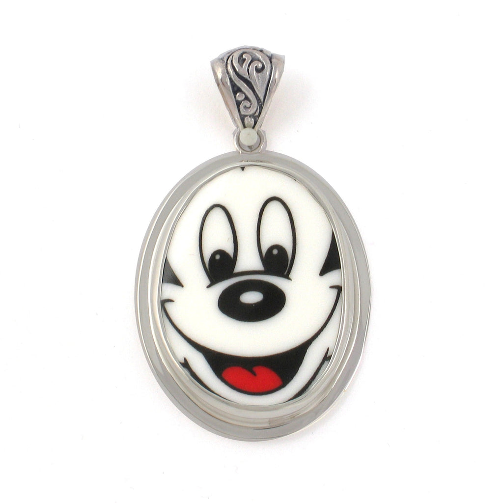 Broken China Jewelry Smiling Mickey Mouse Close Up Sterling Oval Pendant