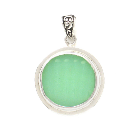 Broken China Jewelry Fire King Pale Green Jadeite Sterling Circle Pendant