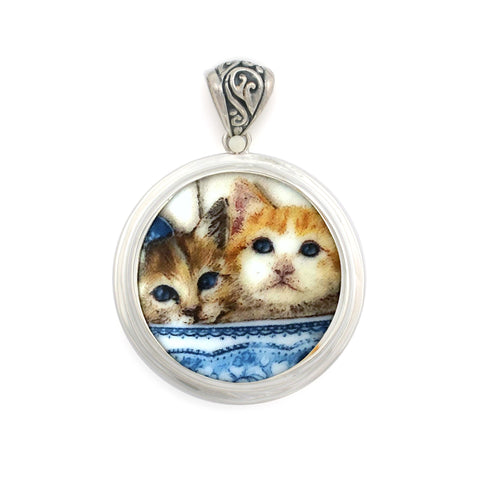 Broken China Jewelry Cat Kitty Cats in the China Cabinet Sterling Circle Pendant