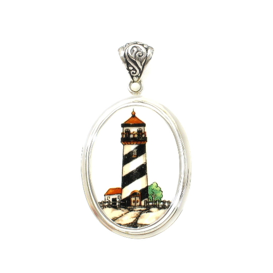 Broken China Jewelry Nautical Lighthouse Light House Sterling Large Oval Pendant