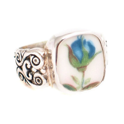 Size 6 - Broken China Jewelry Blue Moonlight Roses Blue Flame Bud Sterling Silver Ring - Vintage Belle Broken China Jewelry