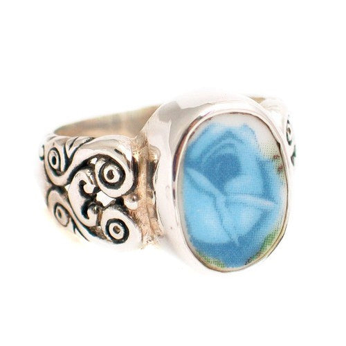 Size 6 - Broken China Jewelry 056 Moonlight Roses Blue Rose Sterling Ring - Vintage Belle Broken China Jewelry