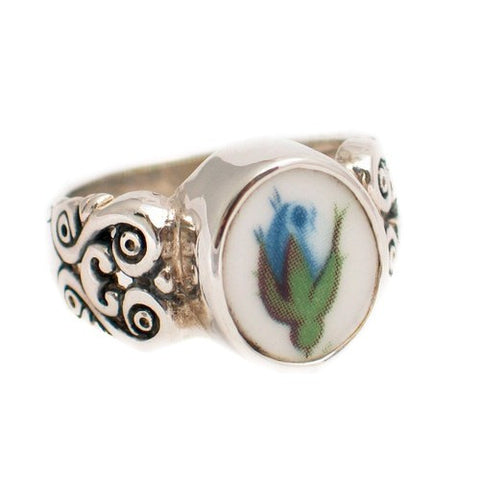 Size 6 - Broken China Jewelry Moonlight Roses Blue Rose Bud Sterling Silver Ring - Vintage Belle Broken China Jewelry