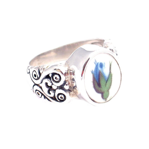 SZ 9 Royal Albert Moonlight Roses Blue Rose Bud Oval Sterling Silver Ring - Vintage Belle Broken China Jewelry