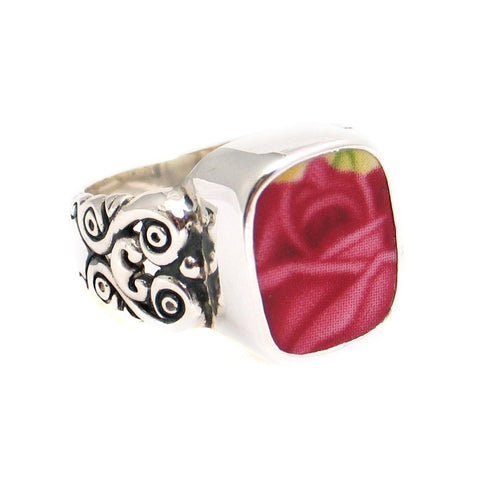 Size 6 Broken China Jewelry Old Country Roses Dark Pink Rose Sterling Ring - Vintage Belle Broken China Jewelry