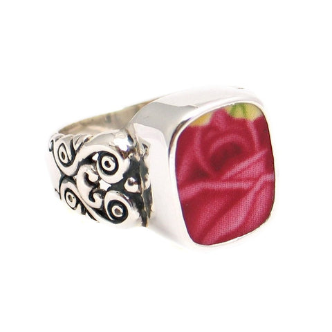 SZ 9 Broken China Jewelry Old Country Roses Pink Red Rose Sterling Ring - Vintage Belle Broken China Jewelry