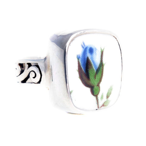 Size 8 Broken China Jewelry Moonlight Roses Blue Roses Rose Bud Sterling Ring - Vintage Belle Broken China Jewelry