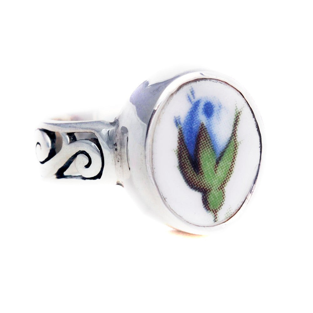 Size 7 Broken China Jewelry Royal Albert Moonlight Roses Blue Rose Rose Bud Sterling Ring - Vintage Belle Broken China Jewelry