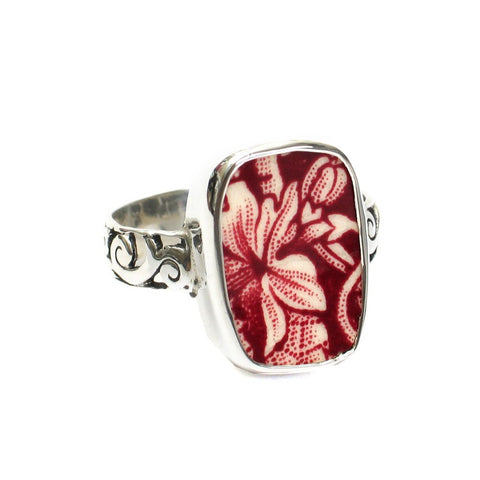 Size 13 Broken China Jewelry Mason's Vista Pink Red Botanical Leaf E Sterling Ring - Vintage Belle Broken China Jewelry