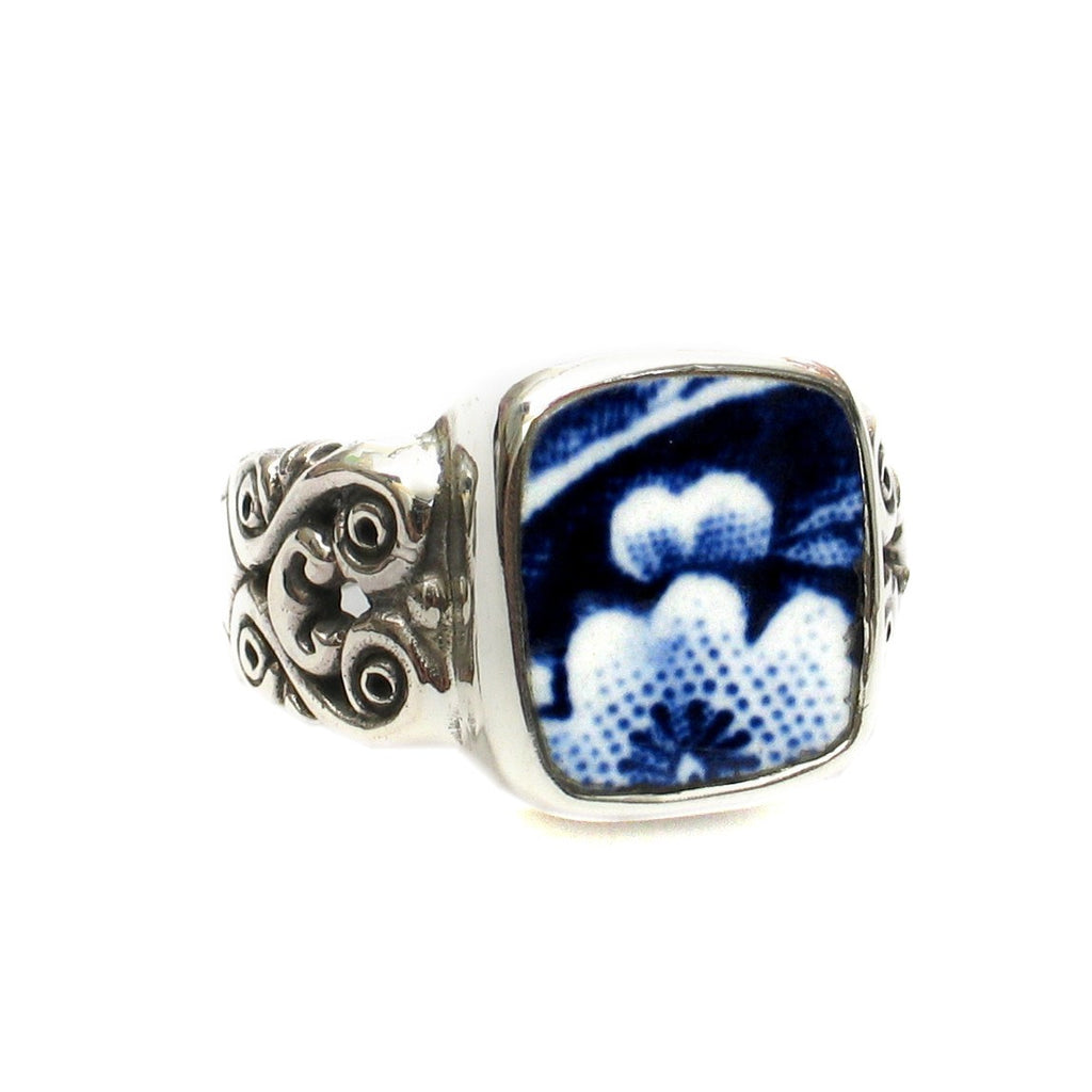Size 9 Burleigh Blue Calico F Flowers Sterling Ring - Vintage Belle Broken China Jewelry