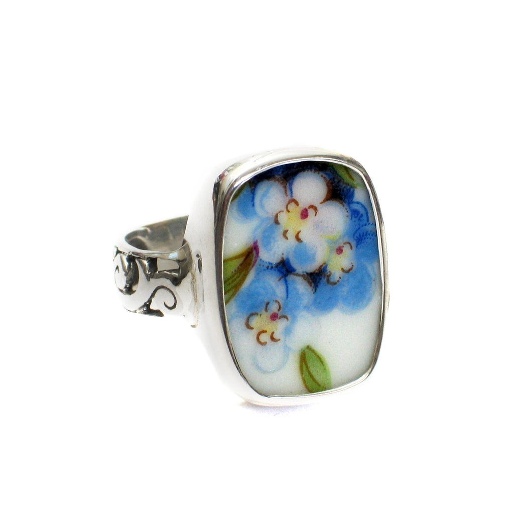Size 11 Broken China Jewelry Blue Forget Me Not Flowers J Sterling Ring - Vintage Belle Broken China Jewelry