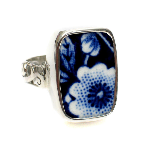 Size 9 Burleigh Blue Calico H Flowers Sterling Ring - Vintage Belle Broken China Jewelry