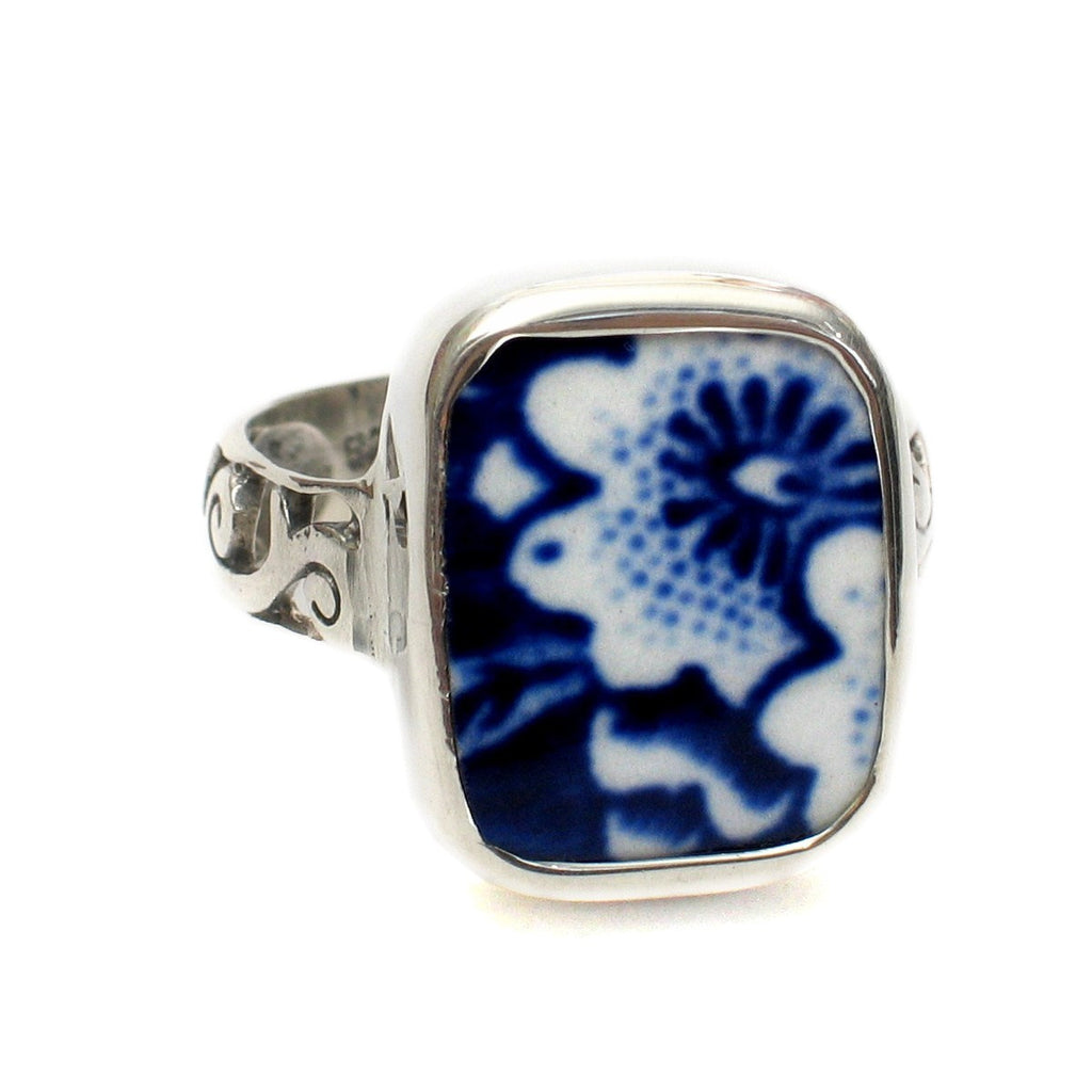 Size 9 Burleigh Blue Calico J Flowers Sterling Ring - Vintage Belle Broken China Jewelry