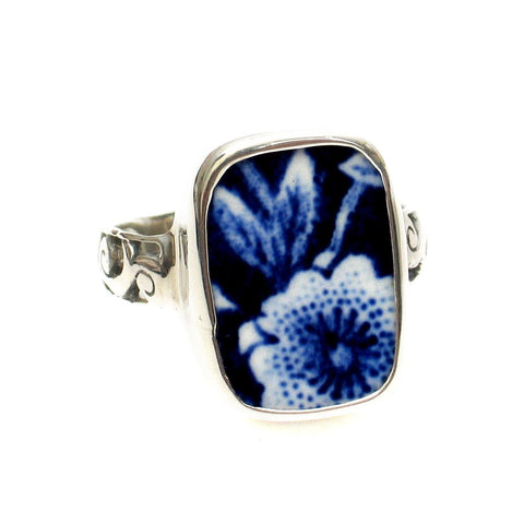 Size 11 Burleigh Blue Calico N Flowers Sterling Ring - Vintage Belle Broken China Jewelry