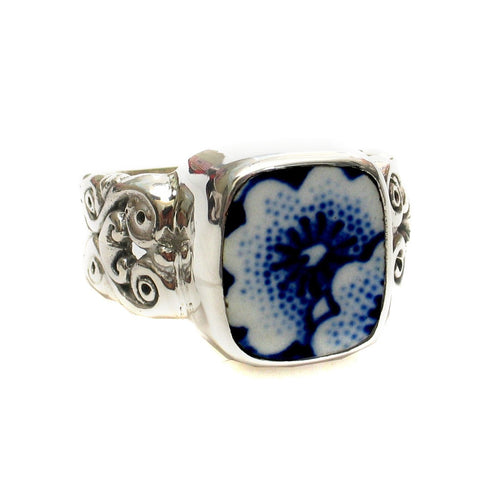 Size 11 Burleigh Blue Calico P Flowers Sterling Ring - Vintage Belle Broken China Jewelry