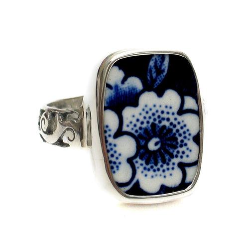 Size 11 Burleigh Blue Calico Q Flowers Sterling Ring - Vintage Belle Broken China Jewelry