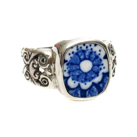 Size 11 Blue Calico R Flowers Sterling Ring - Vintage Belle Broken China Jewelry