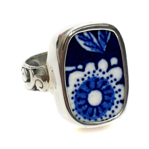 Size 7.5 Blue Calico U Flowers Sterling Ring - Vintage Belle Broken China Jewelry
