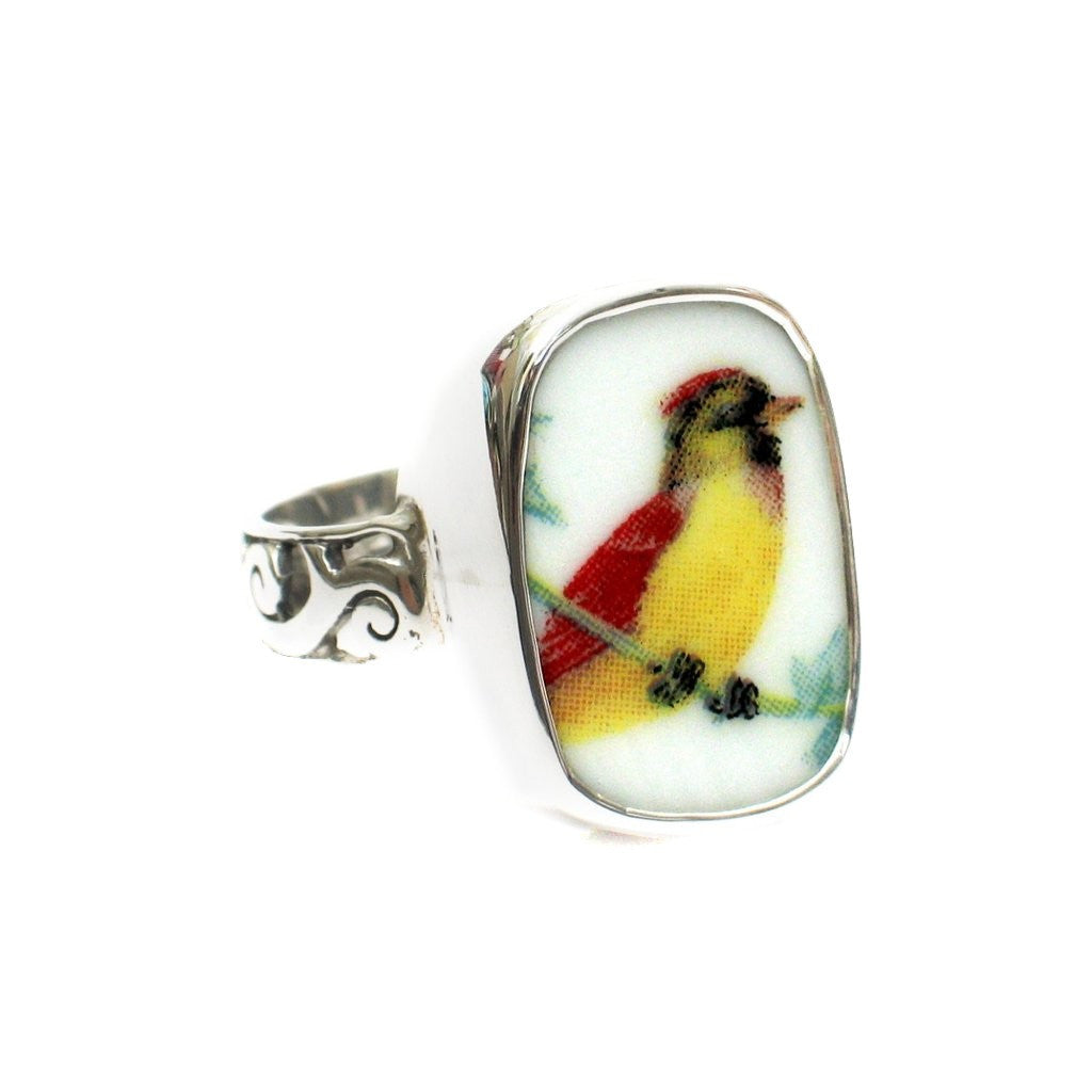 Size 11 Broken China Jewelry Female Lady Cardinal Bird Sterling Ring