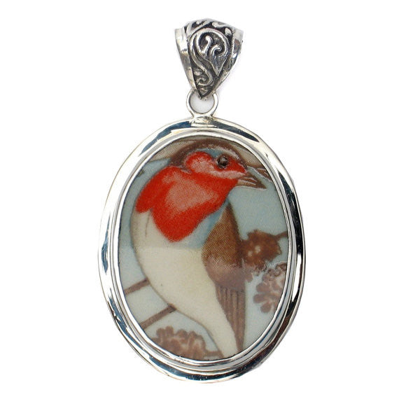 Broken China Jewelry Wedgwood Garden Birds Robin Bird Sterling Pendant - Vintage Belle Broken China Jewelry