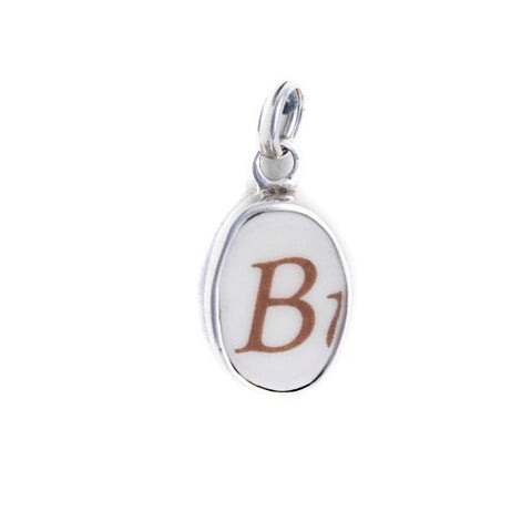 "Broken China Jewelry Letter ""B"" Sterling Oval Charm - Vintage Belle Broken China Jewelry"