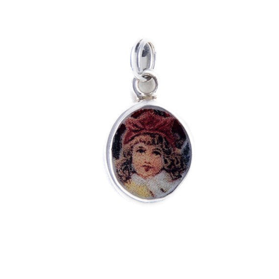 Broken China Jewelry Vintage Doll Red Hat Sterling Charm - Vintage Belle Broken China Jewelry