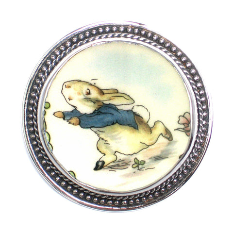 Broken China Jewelry - Wedgwood Beatrix Potter Peter Rabbit - Sterling Pin Brooch - Vintage Belle Broken China Jewelry