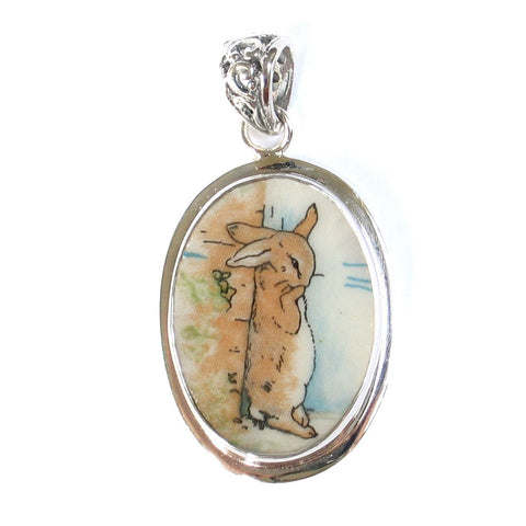 Broken China Jewelry Wedgwood Beatrix Potter Peter Rabbit Wall Sterling Pendant - Vintage Belle Broken China Jewelry