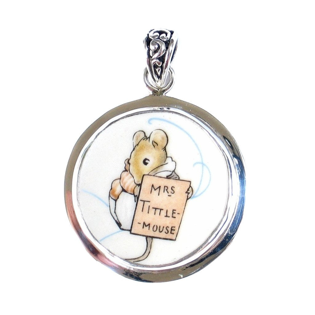 Broken China Jewelry Beatrix Potter Mrs. Tittle Mouse Sterling Pendant - Vintage Belle Broken China Jewelry
