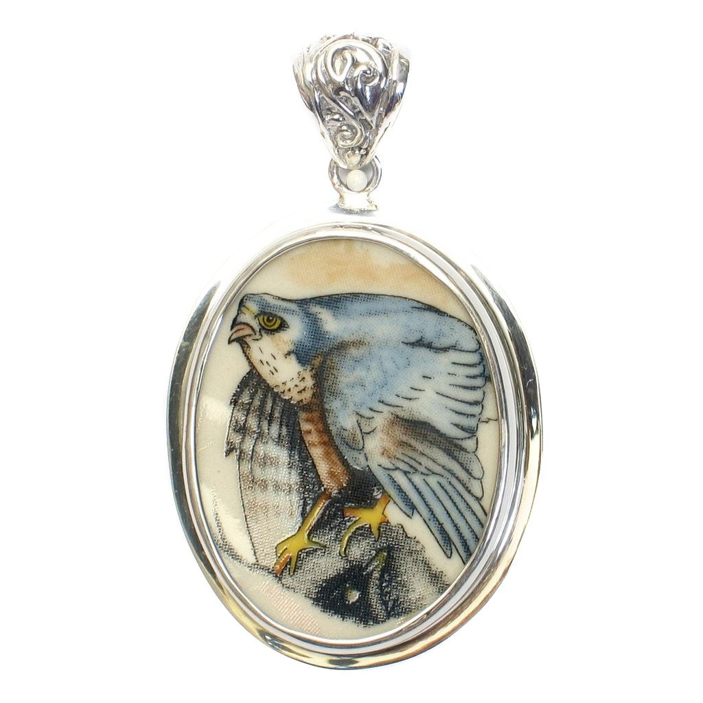 Broken China Jewelry Wedgwood Birds of Prey Sparrowhawk Hawk Sterling Pendant