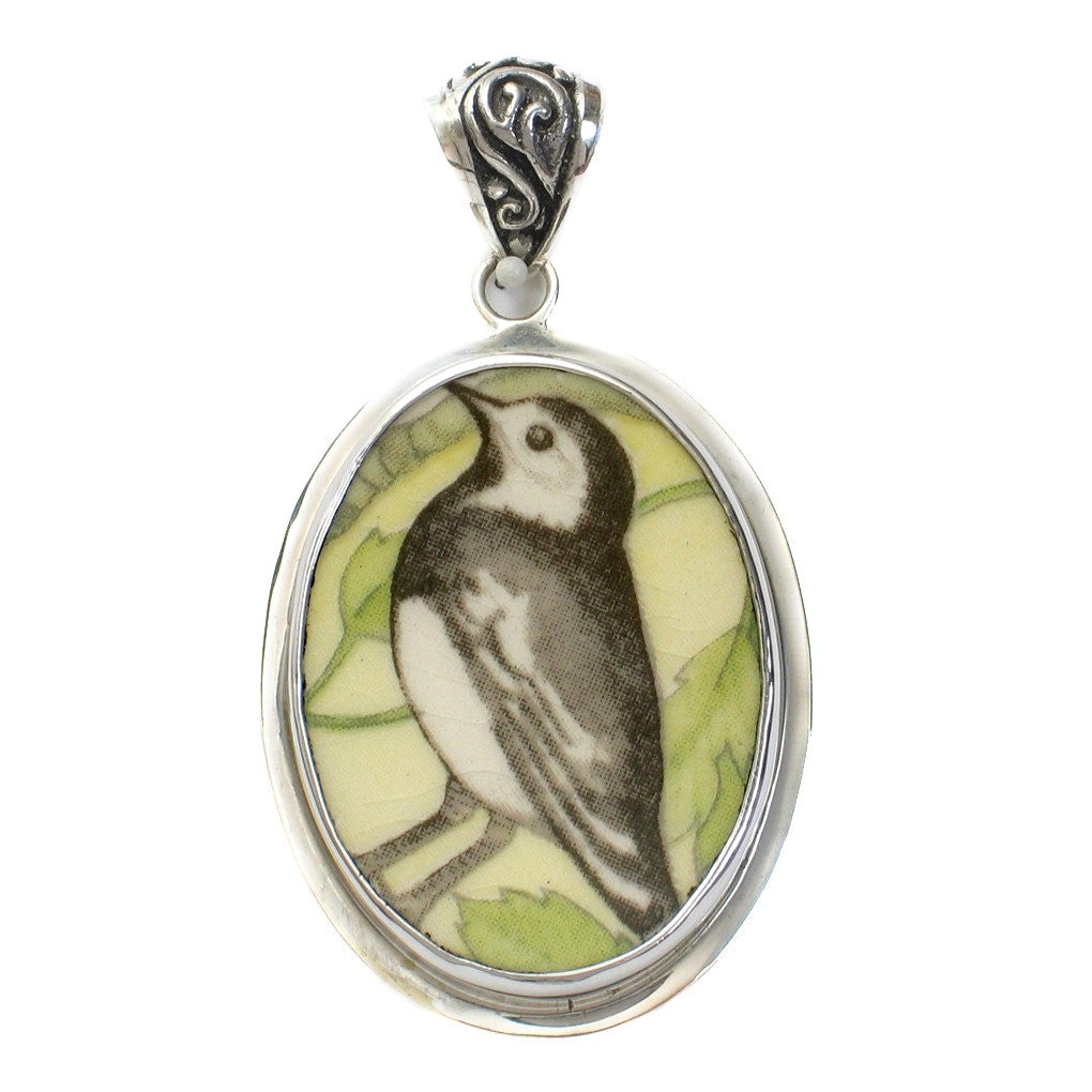 Broken China Wedgwood Garden Birds Pied Wagtail Bird Sterling Oval Pendant - Vintage Belle Broken China Jewelry
