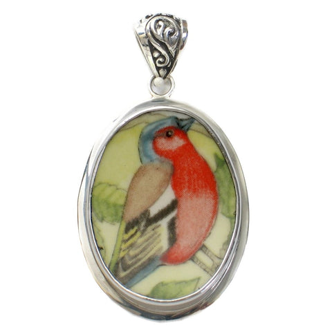 Broken China Jewelry Wedgwood Garden Birds Chaffinch Bird Sterling Oval Pendant - Vintage Belle Broken China Jewelry