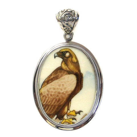 Broken China Jewelry Wedgwood Birds of Prey Golden Eagle Bird Sterling Pendant - Vintage Belle Broken China Jewelry