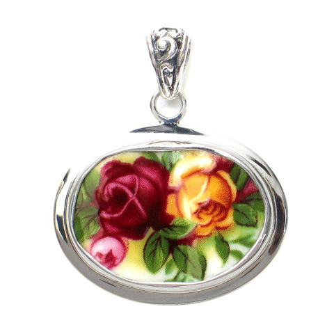 Broken China Jewelry Old Country Roses Red Yellow Double Rose Sterling Horizontal Oval Pendant