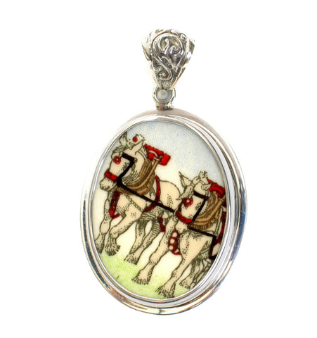 Broken China Jewelry Wedgwood Shire Horse Equestrian Sterling Pendant - Vintage Belle Broken China Jewelry